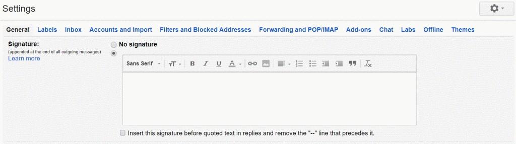 ใช้ลายเซนต์ในการลงท้ายอีเมล